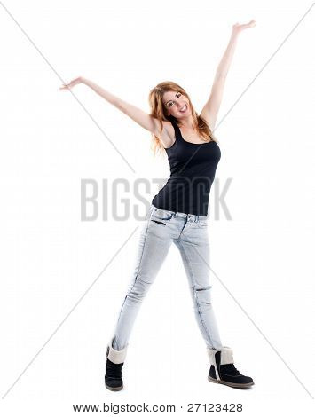 Smiling Redhead In Jeans With Open Arms