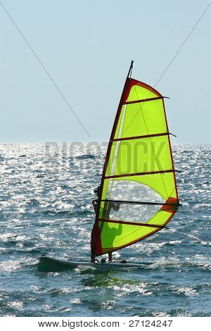 Windsurfer enjoying sea wind