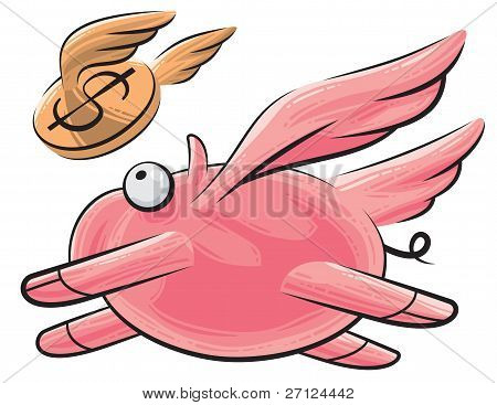 Flying pig and dollar