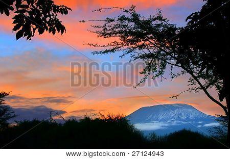 Sunrise on mount Kilimanjaro. Kenya. Amboseli national park.