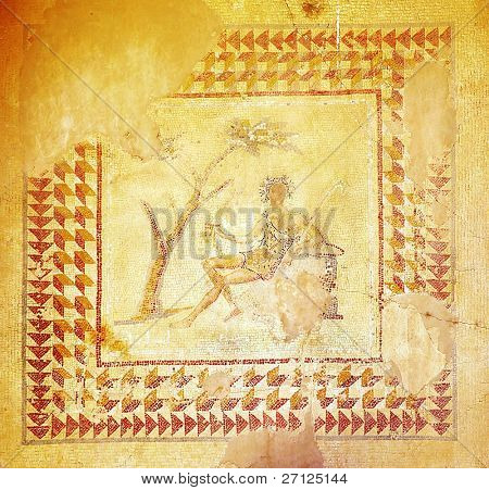 Ancient mosaic, part of floor of Jupiter's Temple, Baalbek, Lebanon