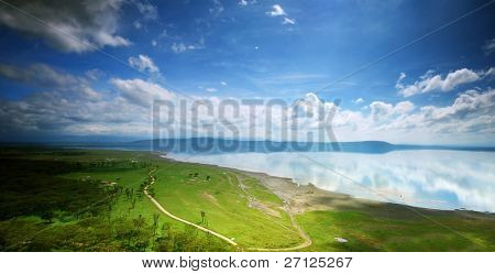 African landscape, bird's-eye view on lake Nakuru, Kenya