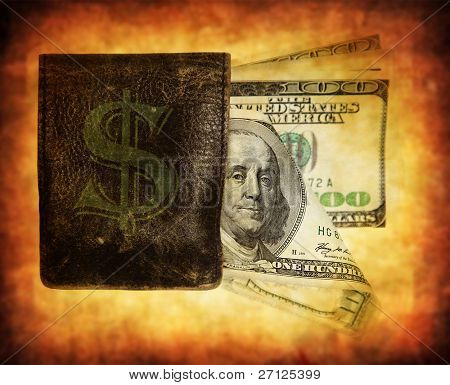 hundred dollar banknotes in a purse isolated on white, conceptual image of money making, saving & spending
