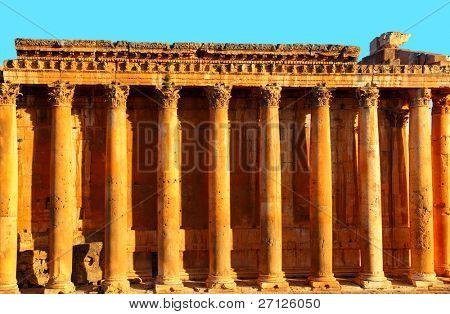 Jupiter's temple ancient Roman columns over blue sky, Baalbek, Lebanon
