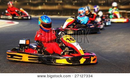 Kart racing competition, active people having fun, extreme sport, karting championship, cart contest