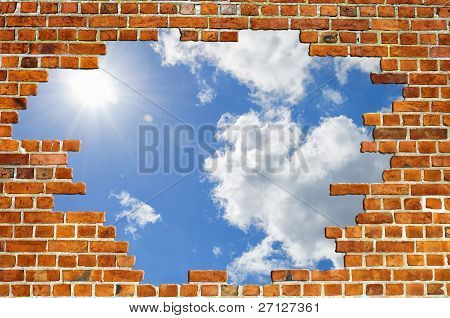 Red Brick Wall Sky Texture