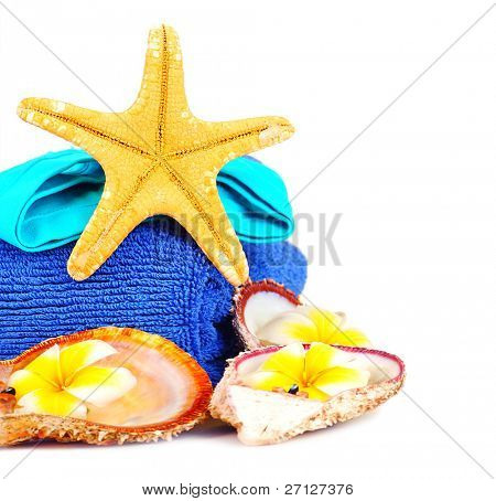 Beach accessories, conceptual image of summertime vacation & travel, isolated on white background