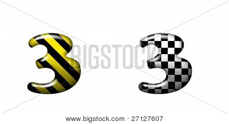 Exclusive Collection Letters With Danger Stripes And Chess Square On White Background