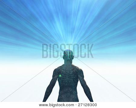 Hombre cubierto de texto con la luz que irradiaba de mente