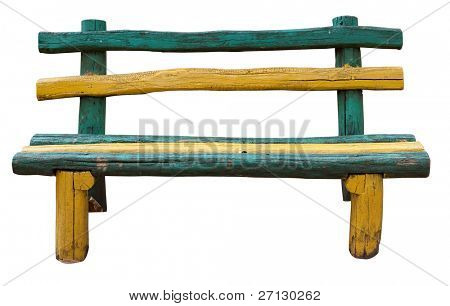 Ancient rural bench from logs. Isolated over white. Roughly hammered together wooden bench. multi-coloured.