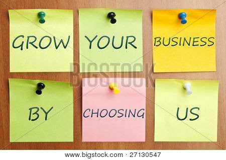 """Grow your business with us"" advertisement"