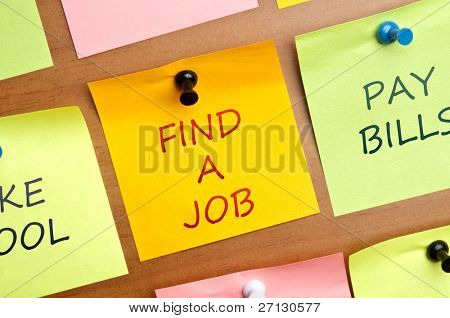 """Find a Job"" post it in middle of other post it"
