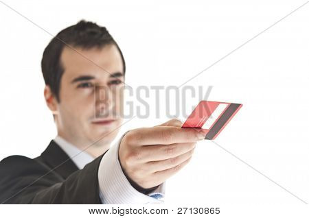 Close up to credit card in man hand