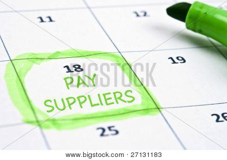 Calendário marca com pagar fornecedores