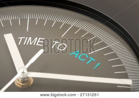 Time to act text on clock
