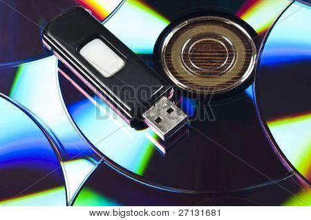 Usb stick on group of cd