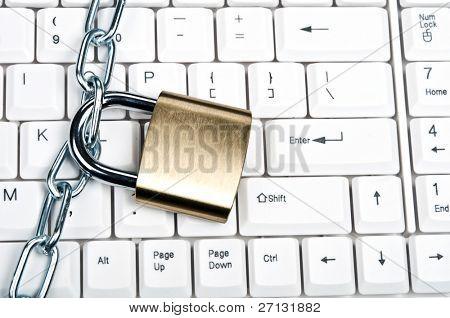 Lock on an white keyboard