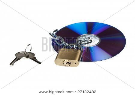 Padlock and cd on white