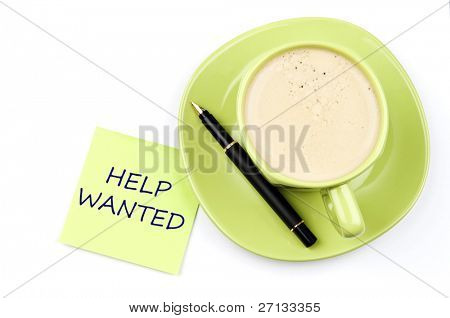 Help wanted on note and coffee