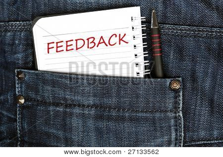 Feedback message on notepad