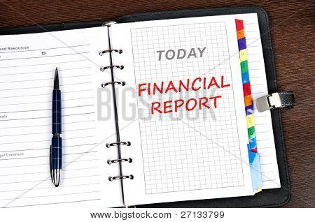 Financial report message on today page