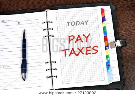 Pay taxes message on today page