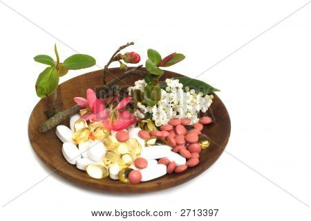 Pills Capsules Vitamins  Flowers