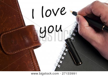 I love you write by male hand