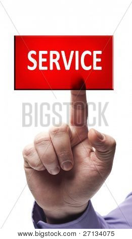 Service button pressed by male hand