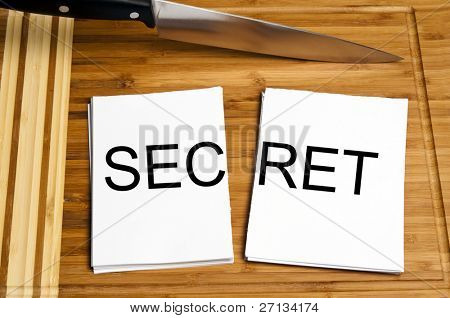 Knife cut paper with secret word