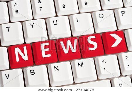 Nachrichten Wort auf weiße Tastatur
