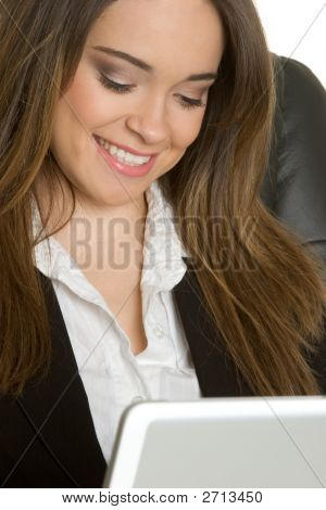 Smiling Laptop Businesswoman