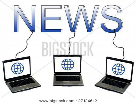 News word connected to laptops
