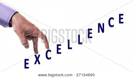 Male fingers climb excellence word