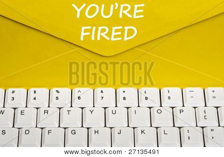 You're fired message on envelope