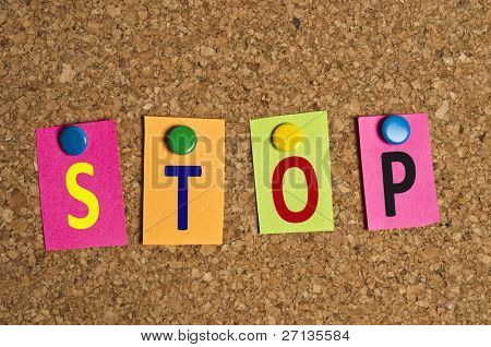 Stop word made of post it