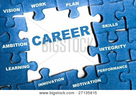 Career blue puzzle pieces assembled