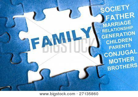 Family blue puzzle pieces assembled