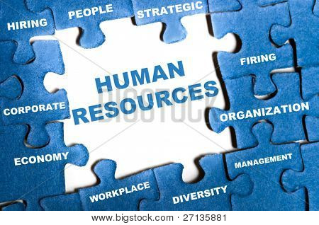 Human resource blue puzzle pieces assembled