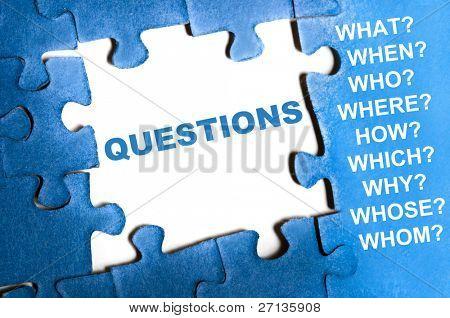 Questions blue puzzle pieces assembled