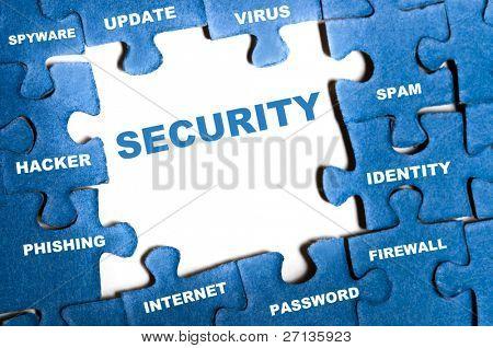 Sicherheit-blaues Puzzle-Teile montiert