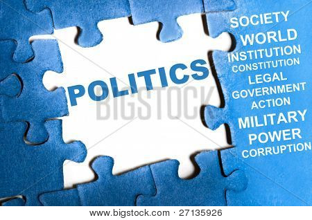 Politics blue puzzle pieces assembled