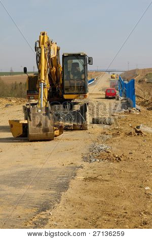 road construction with heavy duty machinery