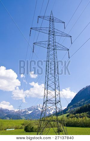 electrical powerlines with a blue sky