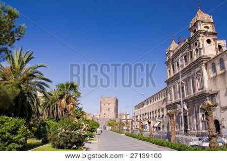 typical architecture detail of old sicilian town