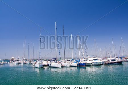 boats encored in a marina