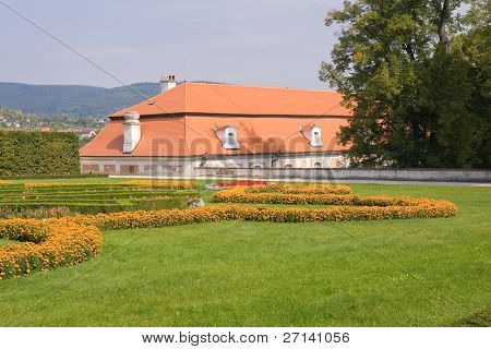 gardens of czech historical town Cesky Krumlov enlisted in UNESCO