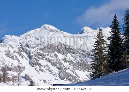 alpine peaks covered with snow