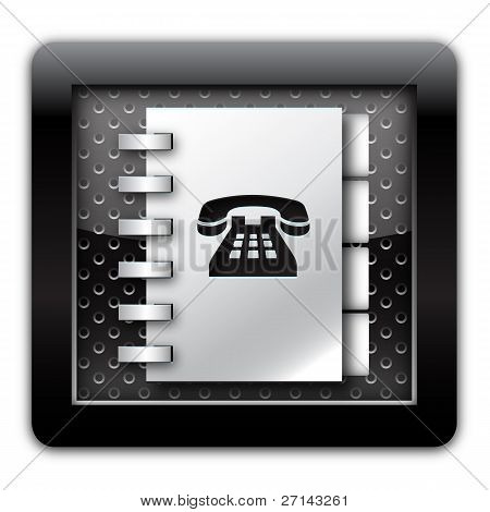 Adress book telephone numbers metallic icon
