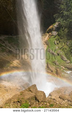 huge waterfall in slovenian julian alps